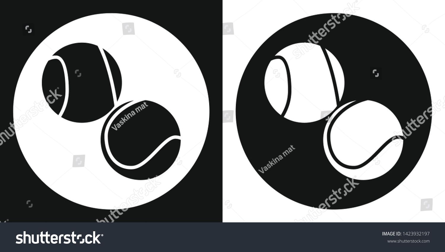Tennis Ball Icon Silhouette Tennis Ball On A Black And White Background Sports Equipment Illustra Black And White Background Stock Illustration Illustration