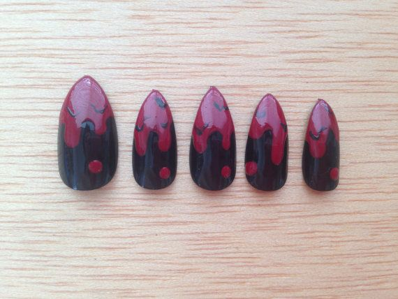 Blood Drip Nails 24 Creepy stiletto nails halloween by ...