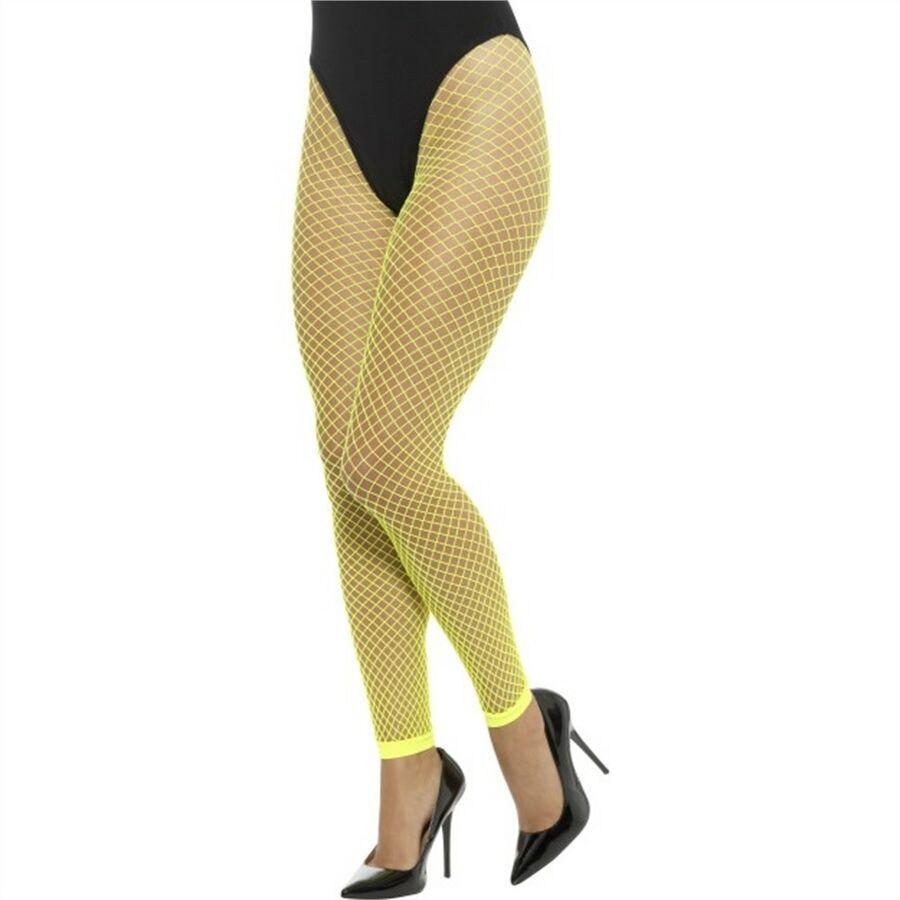 8b0c00a04 Neon Yellow Footless Net Tights - Ladies Fish Adults 1980s Hosiery Fancy  Dress Net Tights Ladies