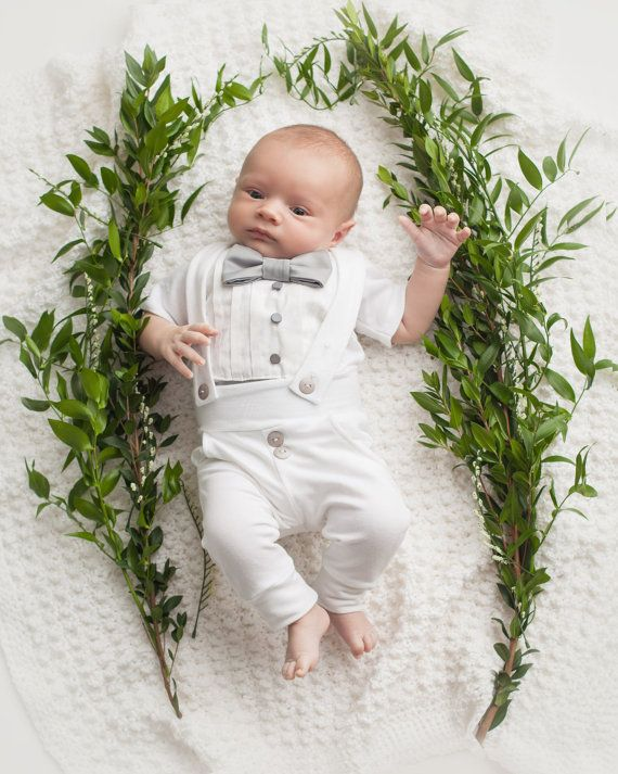 3ecebc967f85 This baby boy tuxedo onesie and legging set is perfect to dress your little  guy up for his blessing or christening. Would make a perfect baby shower  gift.