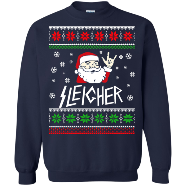 Sleigher The Heavy Metal Santa Claus Sweater Shirt Hoodie Metal
