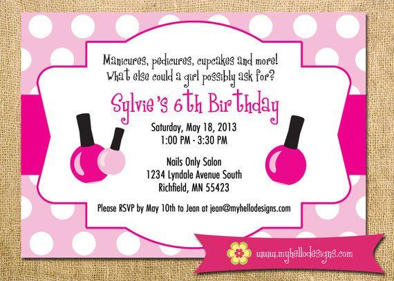 Printable Spa Party Invitation DIY invite spa manicure – Pedicure Party Invitations