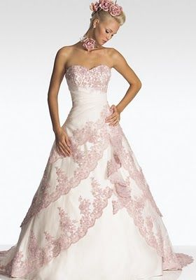 Beautiful Pink And White Wedding Dress So