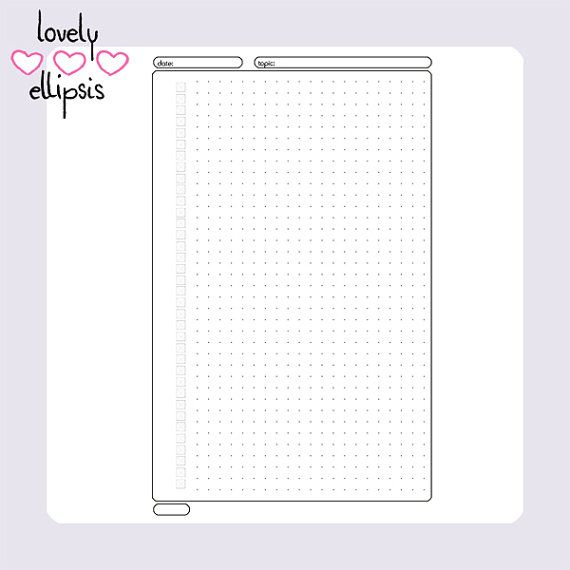 Printable A5 Filofax Planner Bullet Journal Notes To Do Insert - planner page templates