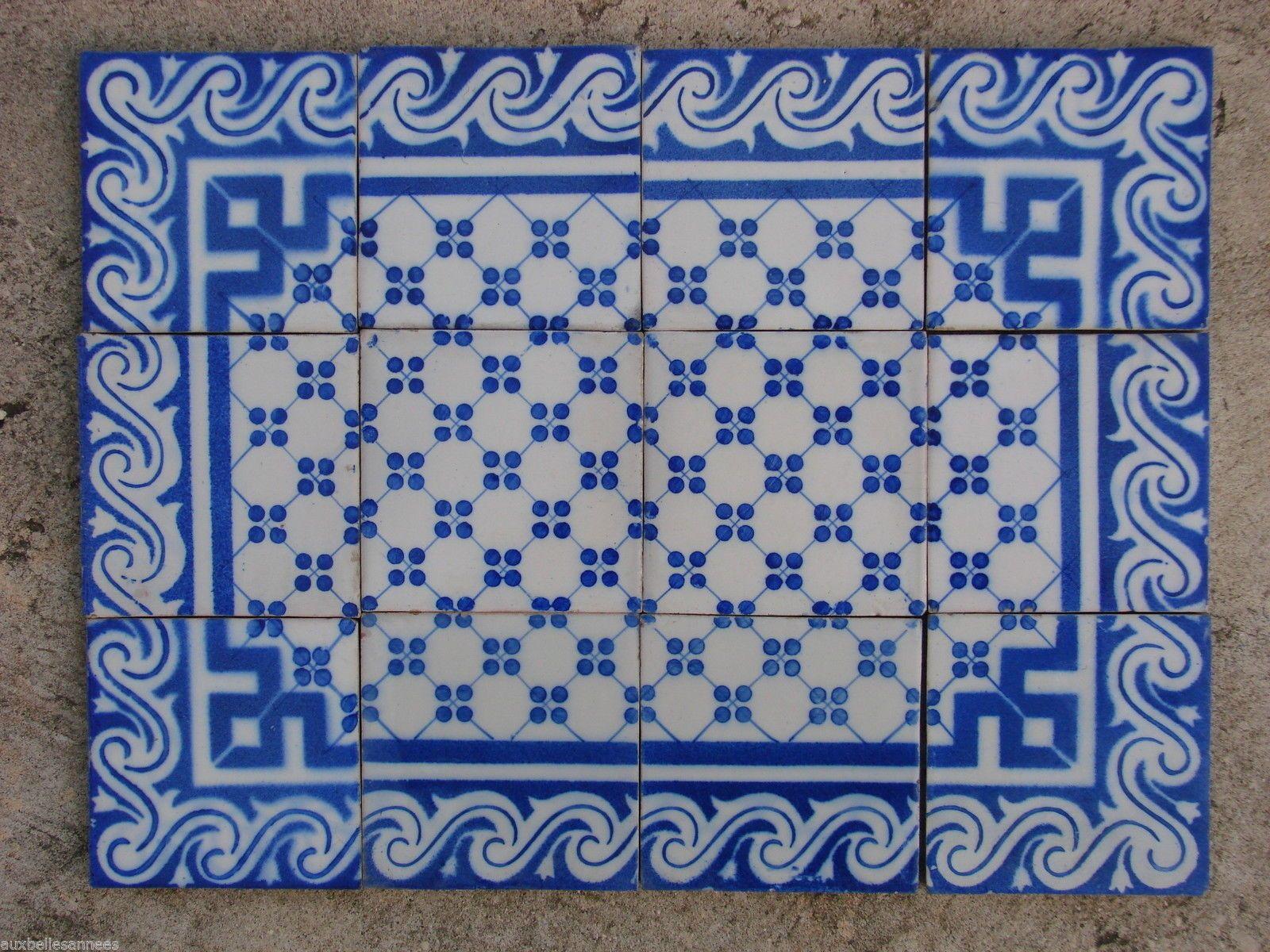 Details Sur Ancien Carreau De Faience Terre Cuite Motif Bleu