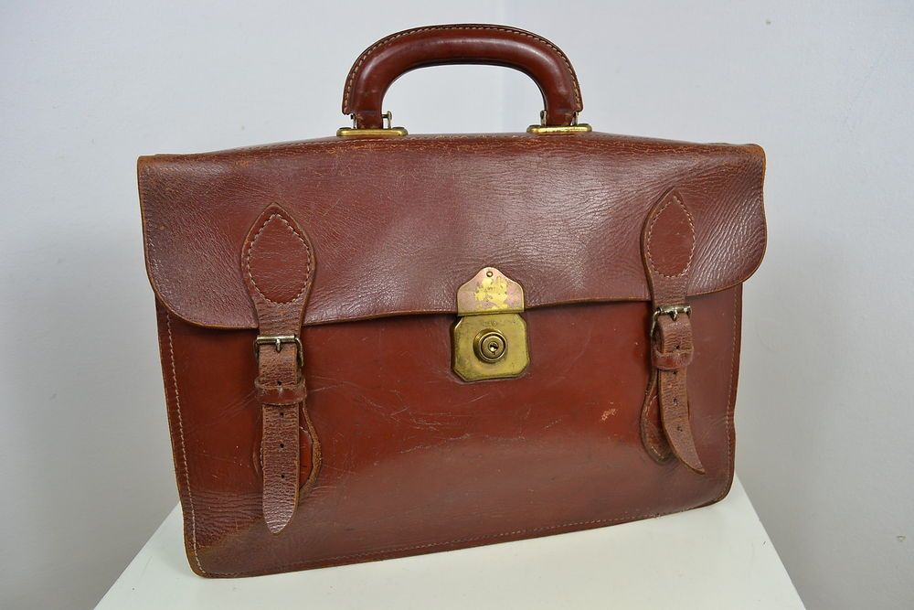 70b960359e72 VINTAGE 1950 s ENGLISH MADE BROWN LEATHER BRIEFCASE CASE ATTACHE SATCHEL  CHENEY