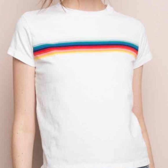 62c89155a6f5f5 Brandy Melville rainbow Ali top (white) Rainbow stripes on a white crop top!  Worn once
