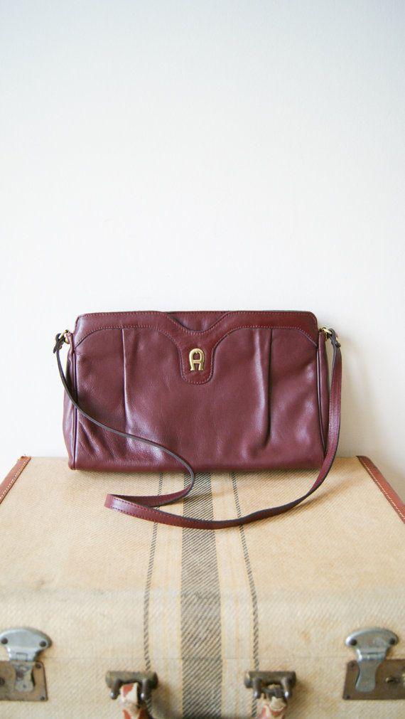 Vintage Aigner Bag. Oxblood Cross Body Purse. 80s Maroon Leather Bag ... de0d7b42a5864