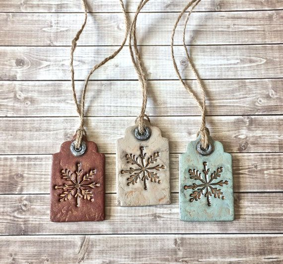 Rustic Farmhouse Snowflake Tags Clay Christmas Ornament Set Vintage Style Winter Holiday Deco... #rusticfarmhouse