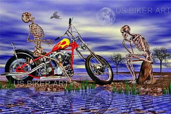 Original Outlaw Skeleton Skull Riding Motorcycle Biker Chopper T-Shirt Tee
