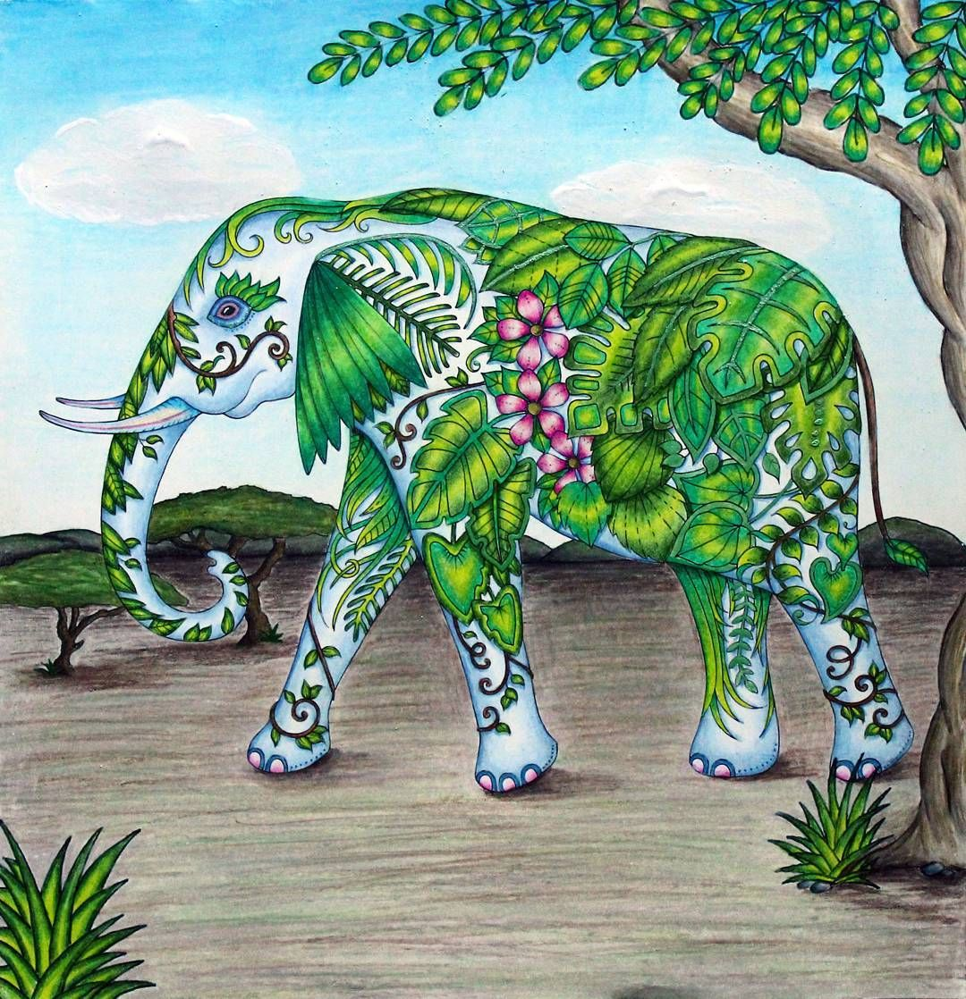 My Coloring Johanna Basford Magical Jungle Elephant Magical Jungle Johanna Basford Coloring Books Coloring Pages