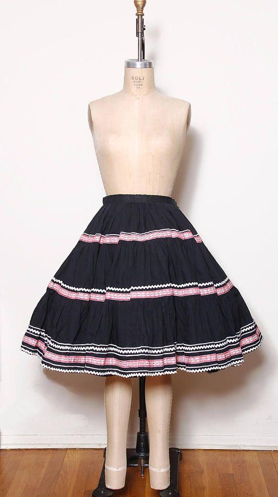 40619001e Vintage 50s swing skirt / tiered square dance skirt /   Prospect ...