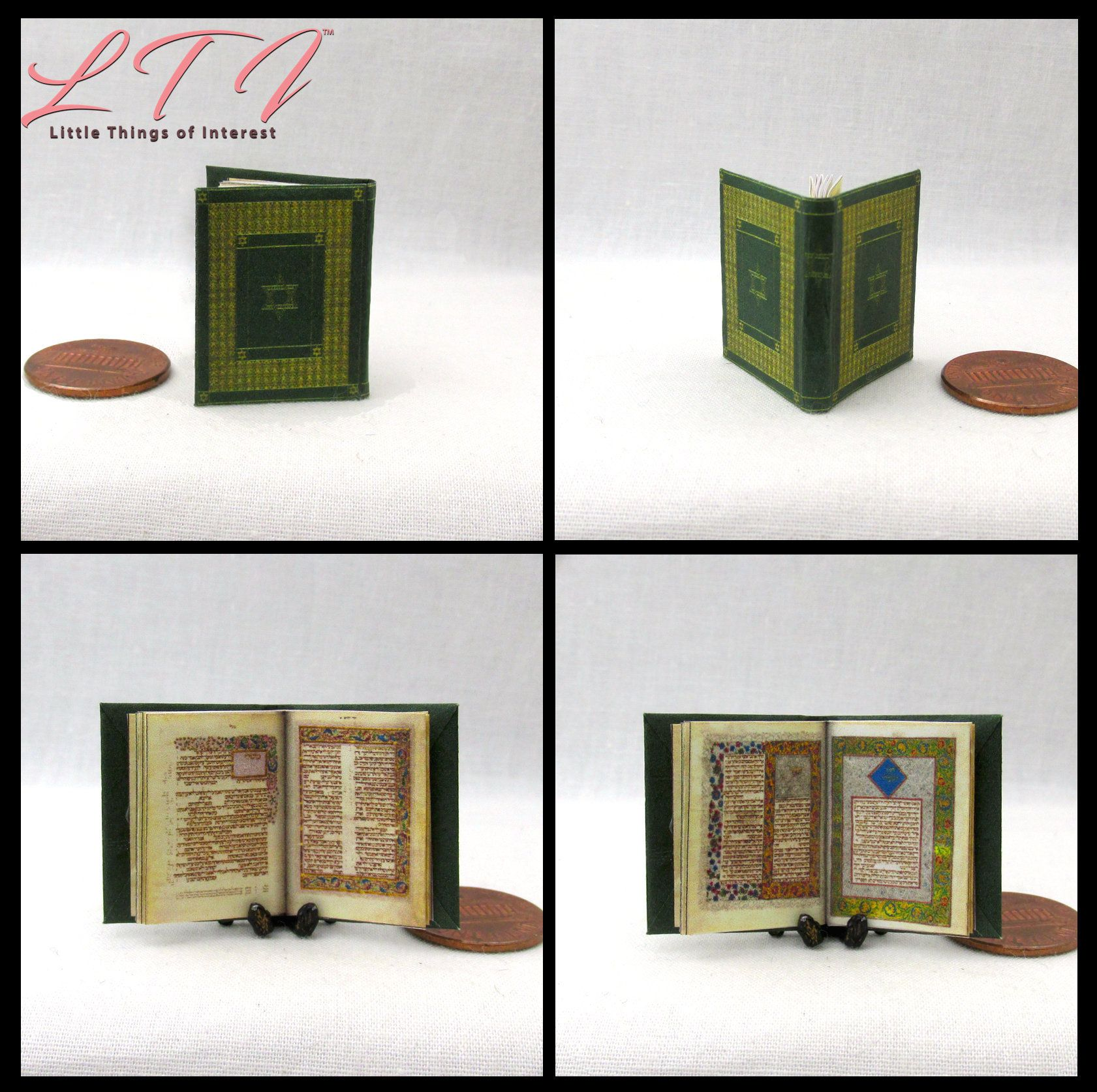 Illuminated HEBREW BIBLE Miniature Book Dollhouse 1:12 Scale Illustrated Codex