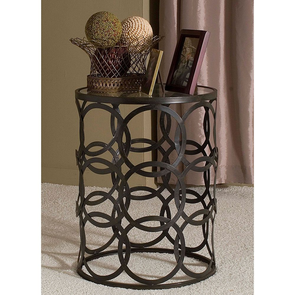 U0027Circlesu0027 Metal Barrel End Table | Overstock.com Shopping   The Best Deals  On Coffee, Sofa U0026 End Tables