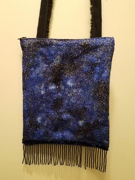 Cosmic blue and black purse with bead fringe. Check out this item in my Etsy shop https://www.etsy.com/listing/517397873/cosmic-purse-with-recycled-bead-fringe