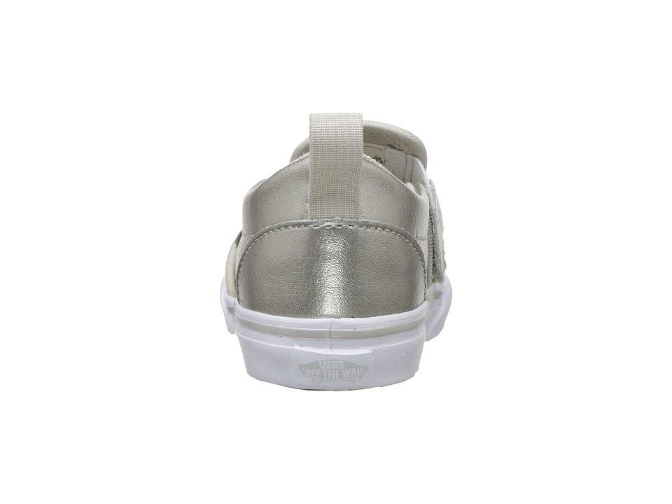 43f7ed5073 Vans Kids Slip-On V (Toddler) Girls Shoes (Metallic) Silver True White