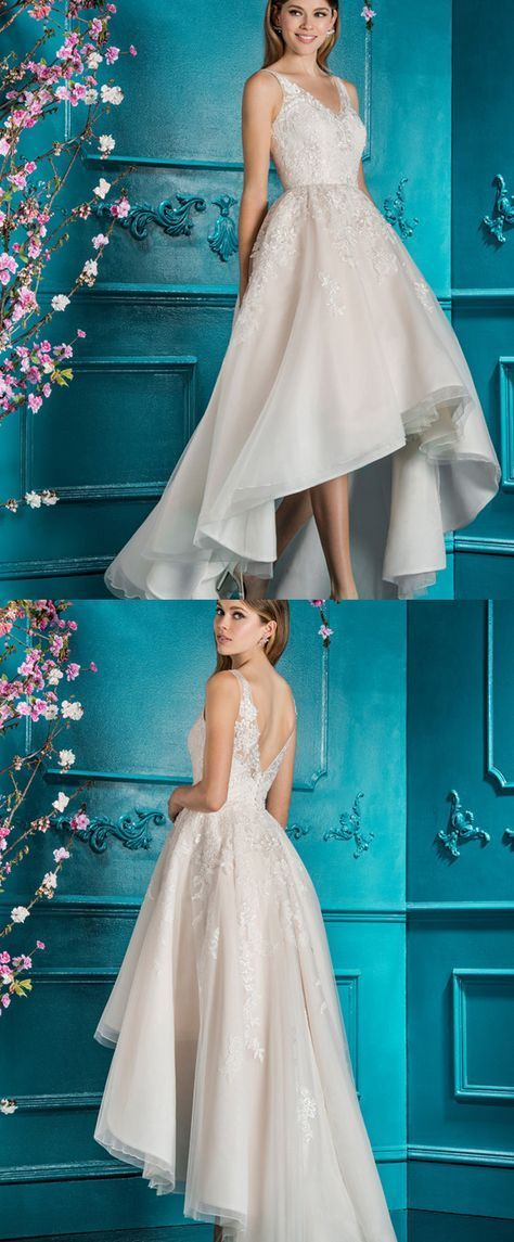 Short Wedding Dresses : Wonderful Tulle V-neck Neckline Hi-lo A-line ...