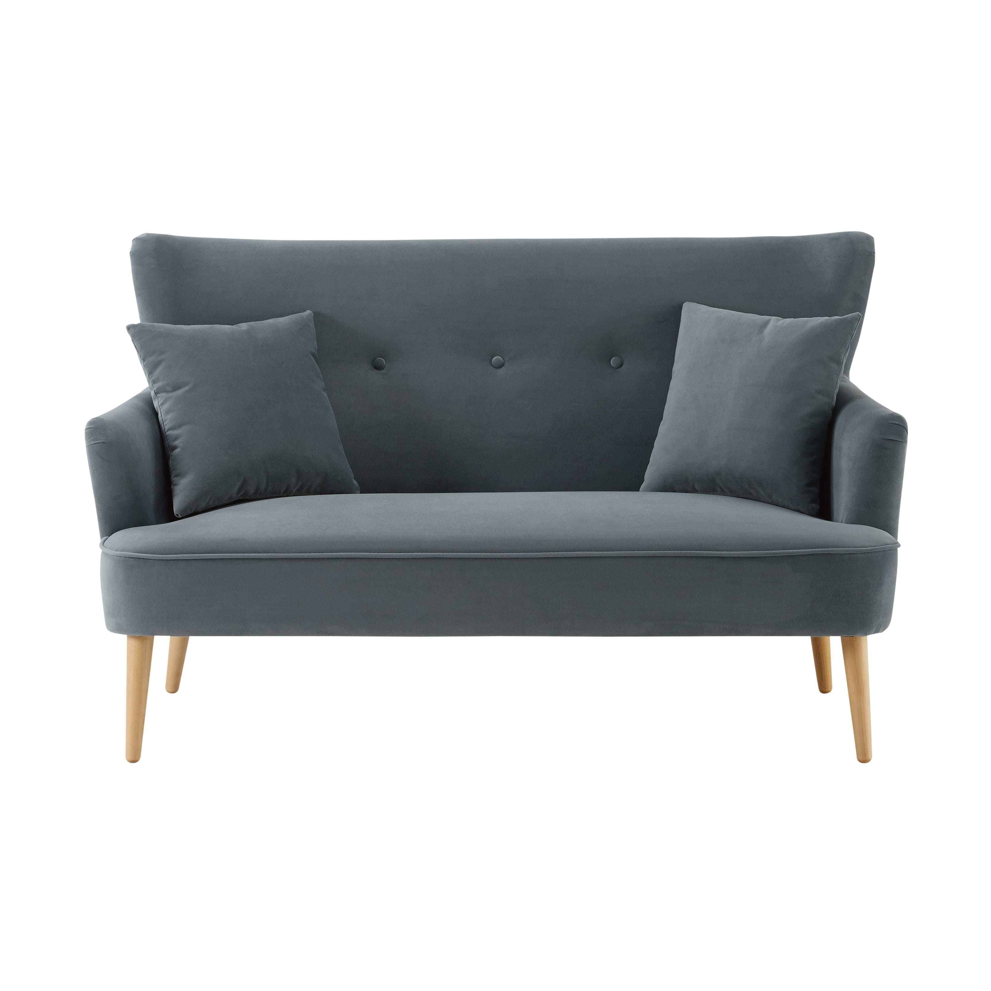 Grey 2 Seater Velvet Sofa Leon