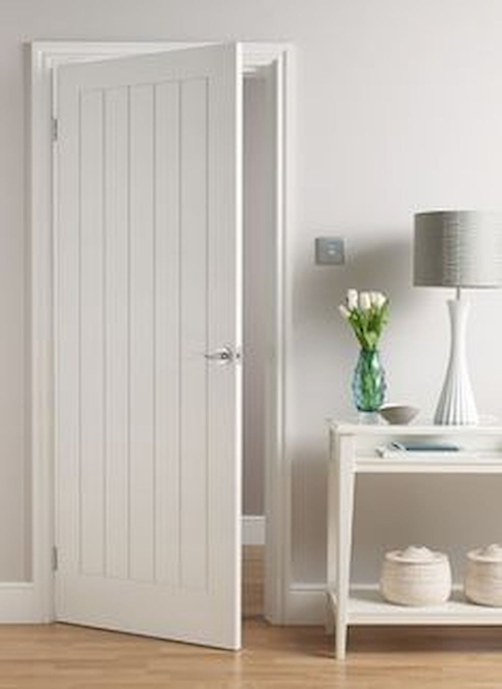 Arvika Polar White Modern Interior Door Scandinavian Style Flat Solid Core Painted White Sound Proof 4 Horizontal Grooves Belldinni Doors Interior Modern Interior Door Styles Doors Interior