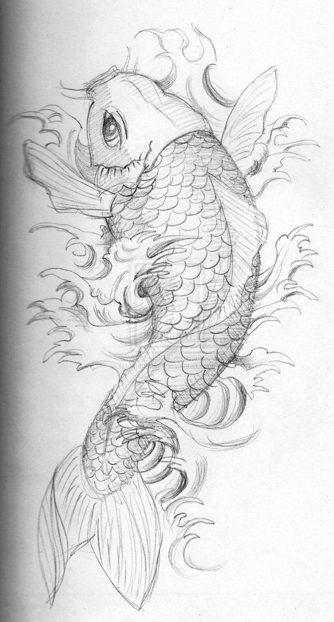 кои эскиз Umfdidumf красивые рисунки карп тату татуировки рыбы