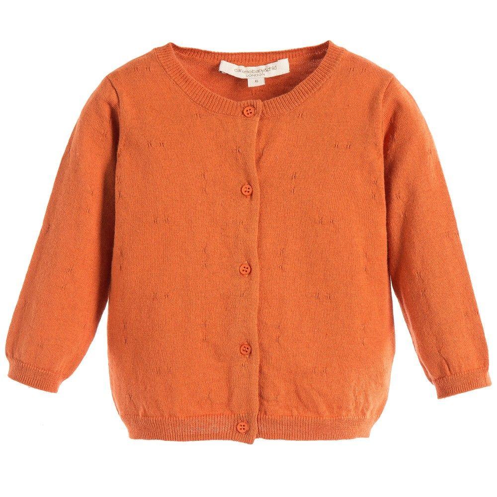 Baby Girls Dark Orange Cotton 'Paprika' Cardigan , Caramel Baby ...