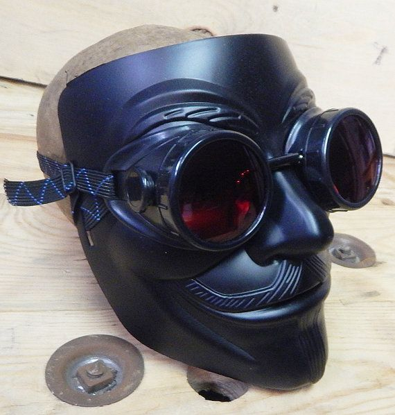 Black 2 Pc Full Face 'V for Vendetta' Guy Fawkes Mask w/Matching Detachable Goggles