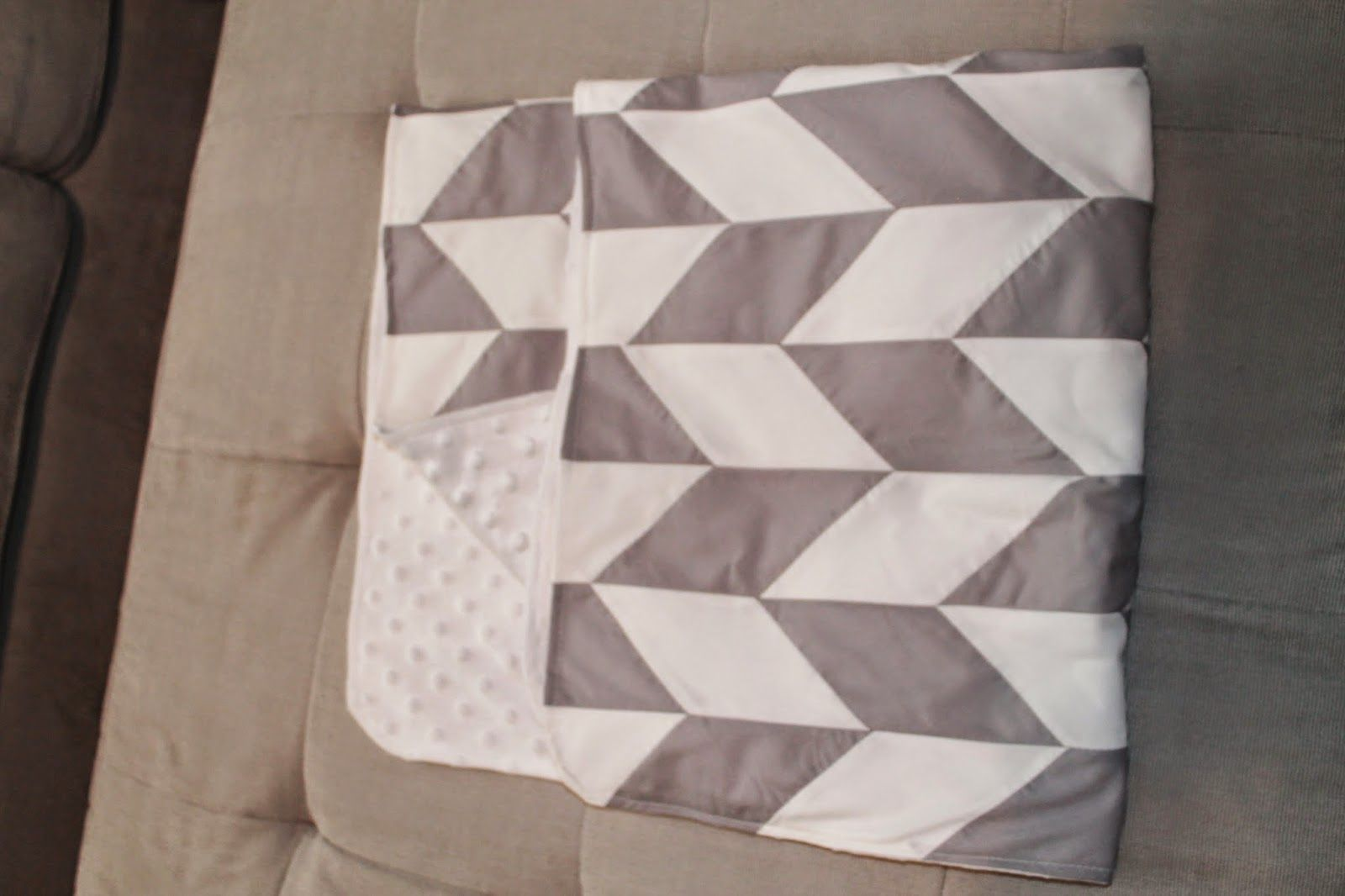 How to make your own Herringbone Baby Quilt. Step by Step instructions with pictures.