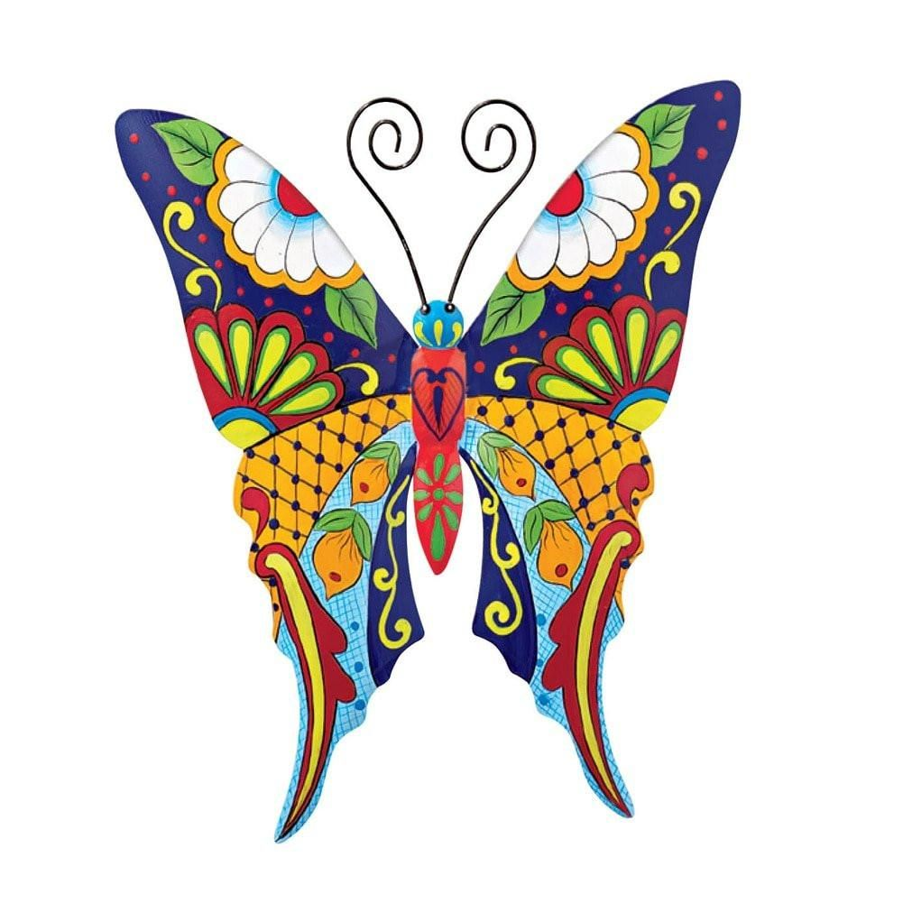 Colorful metal mexican talavera style garden wall art butterfly