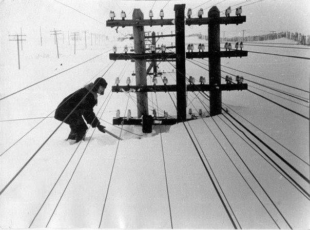Power lines covered with snow. Vorkuta, Komi Autonomous Soviet Socialist Republic, USSR, 1960