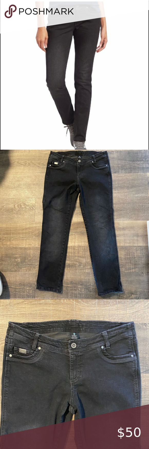 Kuhl Black Thermik Straight Jeans Great Pre Owned Condition Approx Measurements 18 Waist 9 Rise 30 5 Inseam J Kuhl Jeans Str Straight Jeans Kuhl Black