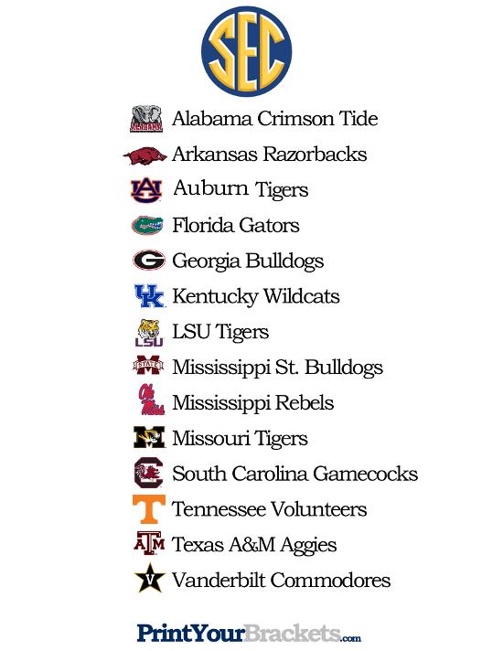 Printable List Of Sec Teams Team Names List Arkansas Razorbacks