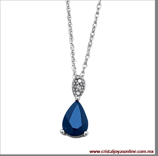 aeb20c3a3f42 Elegante  Style Dije con cadena oro blanco con diamantes + zafiro ...