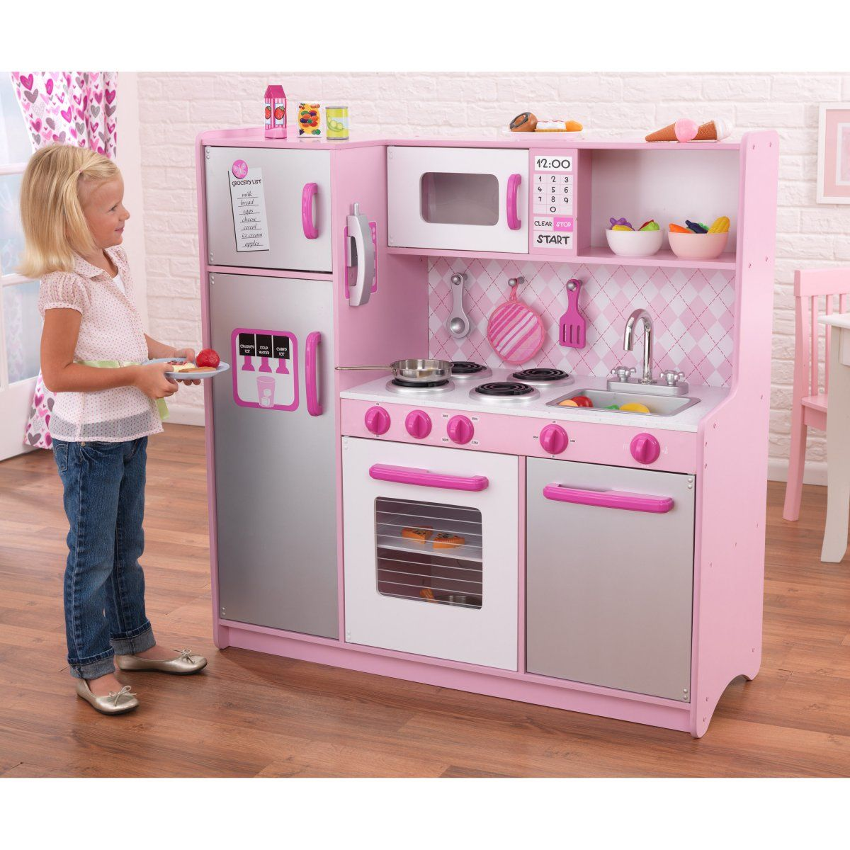 Kidkraft argyle play kitchen with 60 pc food set casa