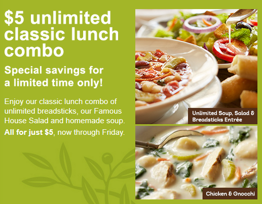 OLIVE GARDEN $$ Reminder: Coupon for $5 Unlimited Classic Lunch ...