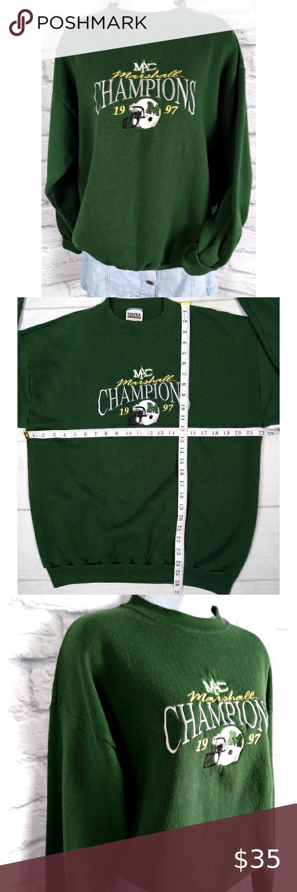Vtg 1997 Tultex Marshall University Sweatshirt Vintage Sweatshirt Clothes Design Cute Sweatshirts [ 1740 x 580 Pixel ]
