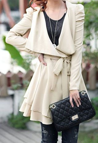 European Style Shirred Sash Bowknot Pure Color Lapel Trench Coat