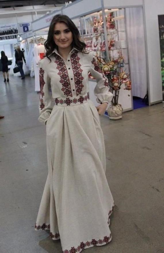 12bb8b7ae09d1 Stylish dress with embroidered geometric ornament, women maxi dress ...