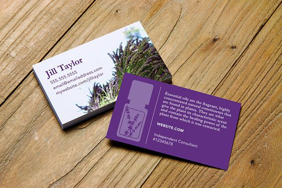Lavender business card design personalized for essential oil distributors & advocates. Choose from dōTerra, Young Living, your own logo or a generic version. #business #networking