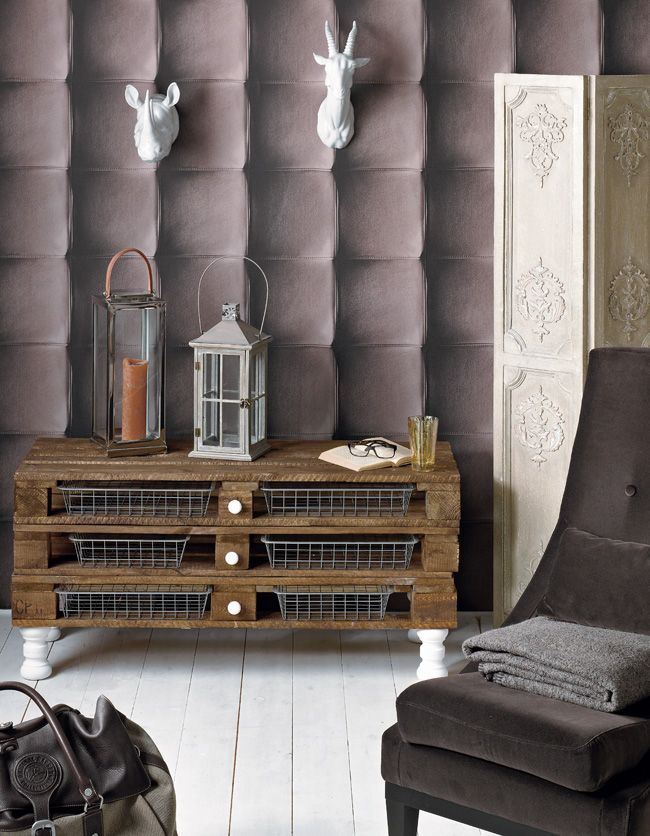 Elegant Living Room Furniture   Vintage Storage Made Of Pallets