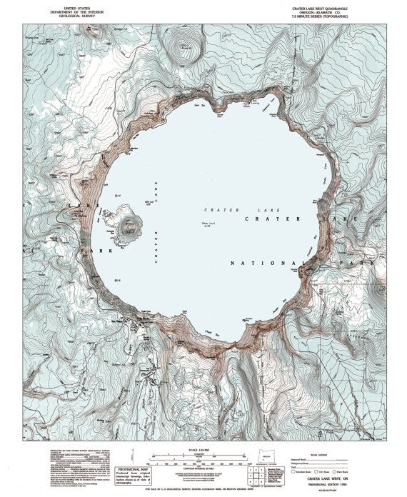 crater lake on a map Crater Lake Oregon Crater Lake Map Print Crater Lake National crater lake on a map