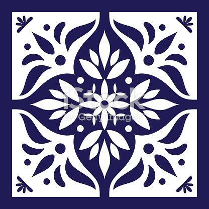 Blue white tile vector. Delft dutch or portugal tiles pattern with…