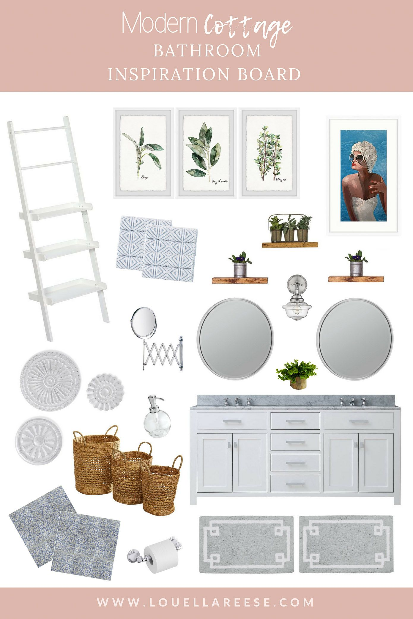 Modern Cottage Bathroom Inspiration Board - Louella Reese Life &