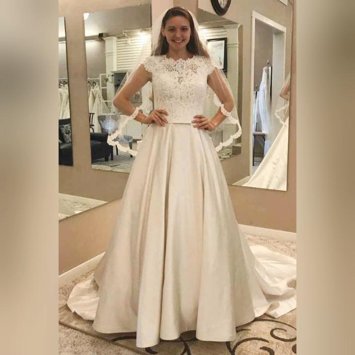 4a69418b241 A-Line Round Neck Satin Wedding Dress with Lace Pockets WD246  weddingdress   satin  wedding  roundneck  bridalgown