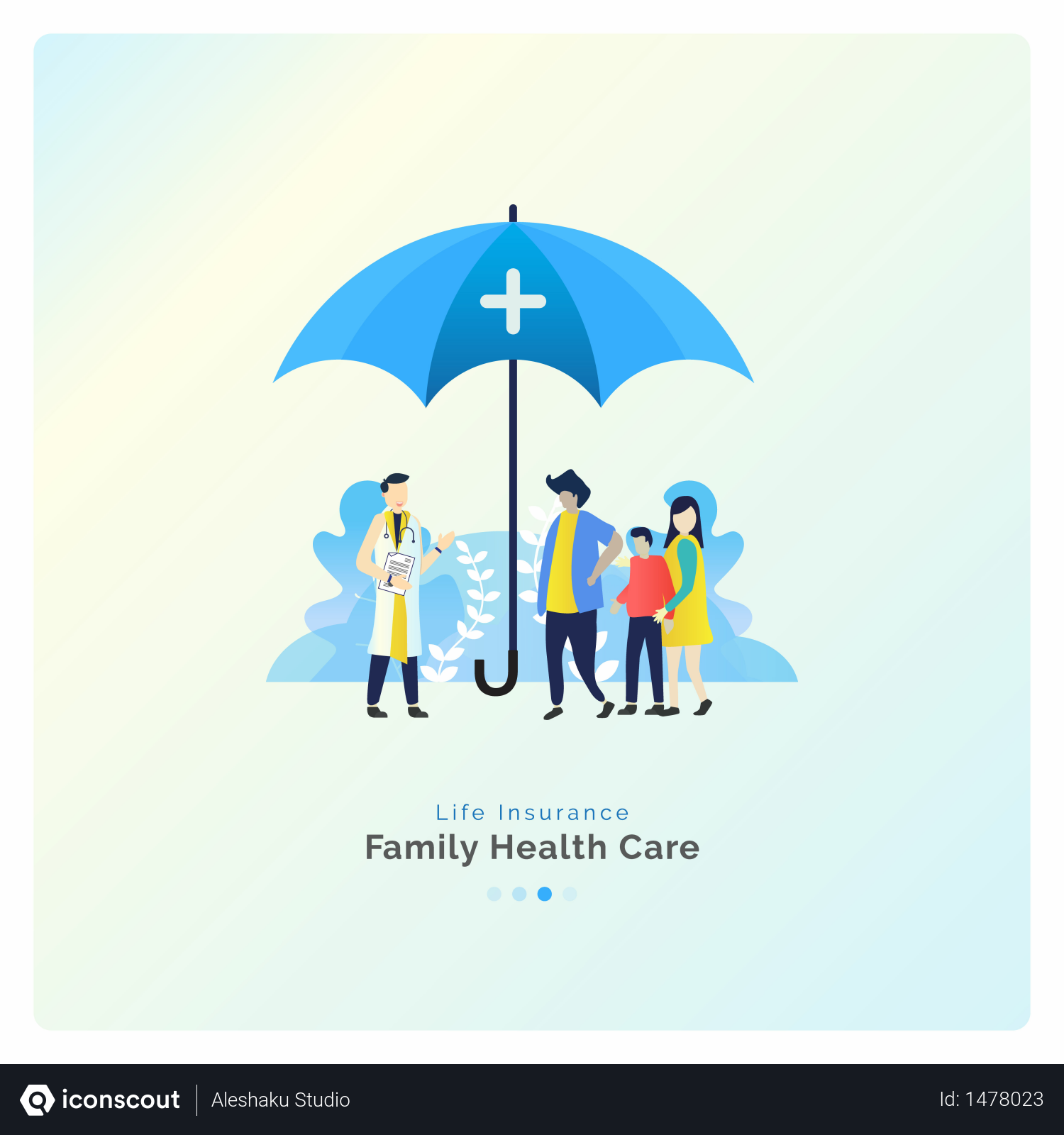 Free Family Health Care With Insurance Illustration Download In