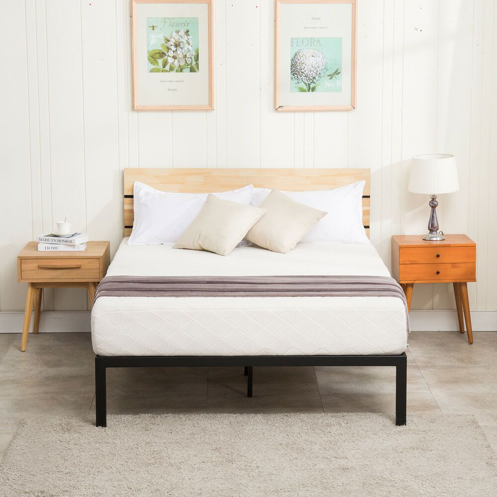 Full Size Platform Metal Bed Frame Wooden Headboard Slats