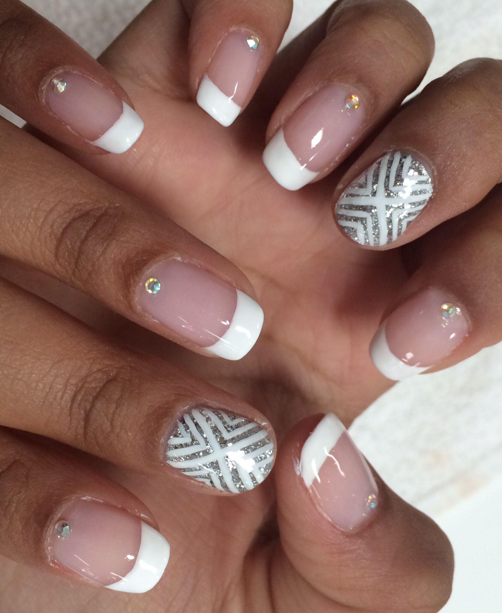 White French Mani with Rhinestones Silver Nail Art Summer 2014 Nail ...