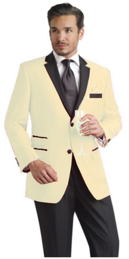 SKU#XBT42 Cream ~ Ivory ~ OFf White Two Button Notch Party Suit ...