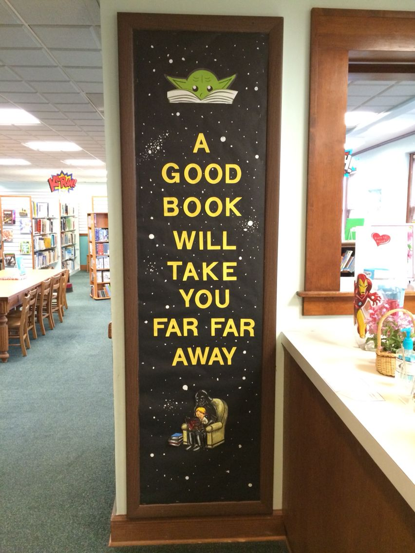 Star Wars library reading Bulletin board. I used white paint to make the stars in the background.