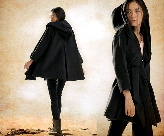 Hooded Cape Cloak for Women in Black, Winter Cape Coat, Wool Cape ...