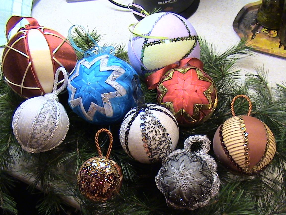 Collection of handmade fabric Christmas baubles